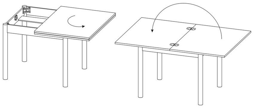 Принцип работы раздвижного кухонного стола