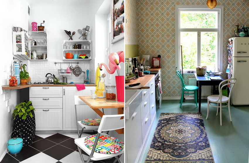 Форма и конструкция стола зависят от общих параметров кухни и количества членов семьи