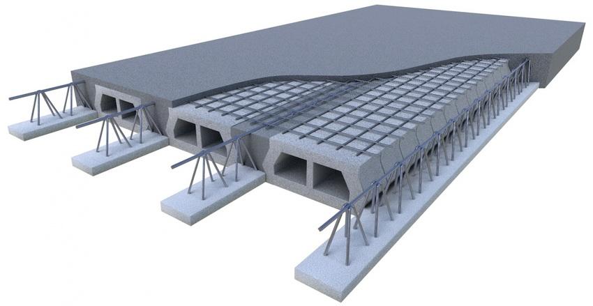 Конструкция сборно-монолитной плиты фундамента