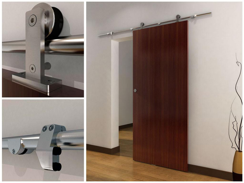 Для раздвижной межкомнатной двери с роликовым механизмом может использоваться только одна направляющая, которая размещается над дверным проемом