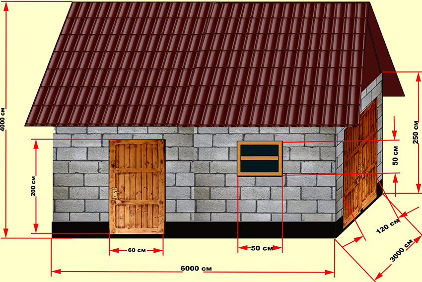 План небольшого дачного сарая из пеноблоков размером 6х4х3 м