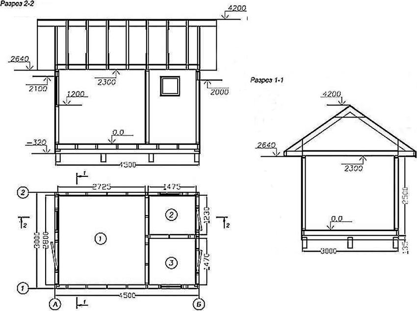 План сарая площадью 11,15 м²: 1 – сарай 7,30 м², 2 – кладовая 1,75 м², мастерская – 2,10 м²