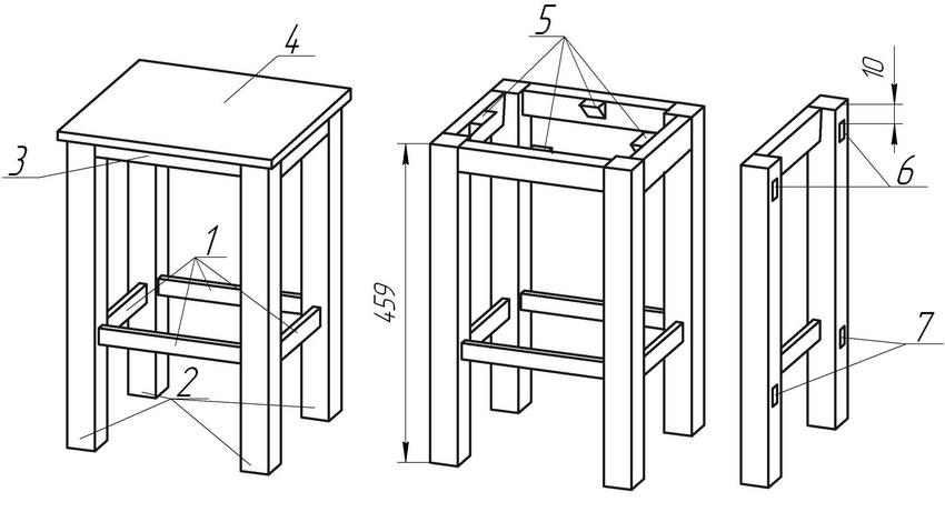 Основные элементы табурета: 1 – проножки; 2 – ножки; 3 – царга; 4 – крышка; 5 – элементы соединения; 6, 7 – гнезда