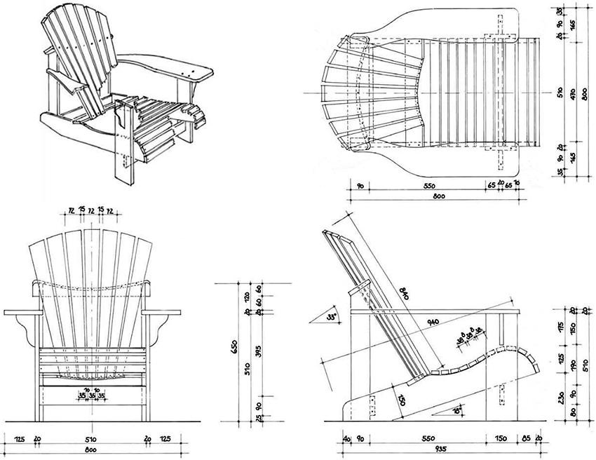 Чертеж деревянного кресла с размерами для изготовления своими руками