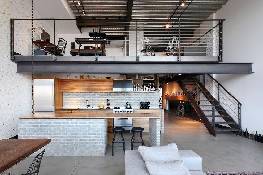Загроможденность, заполненность пространства мебелью является грубым нарушением правил оформления домов стиля лофт