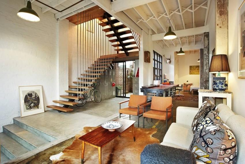 Лестницы для дома в стиле лофт, как и оформление стен, должны напоминать атмосферу индустриального помещения
