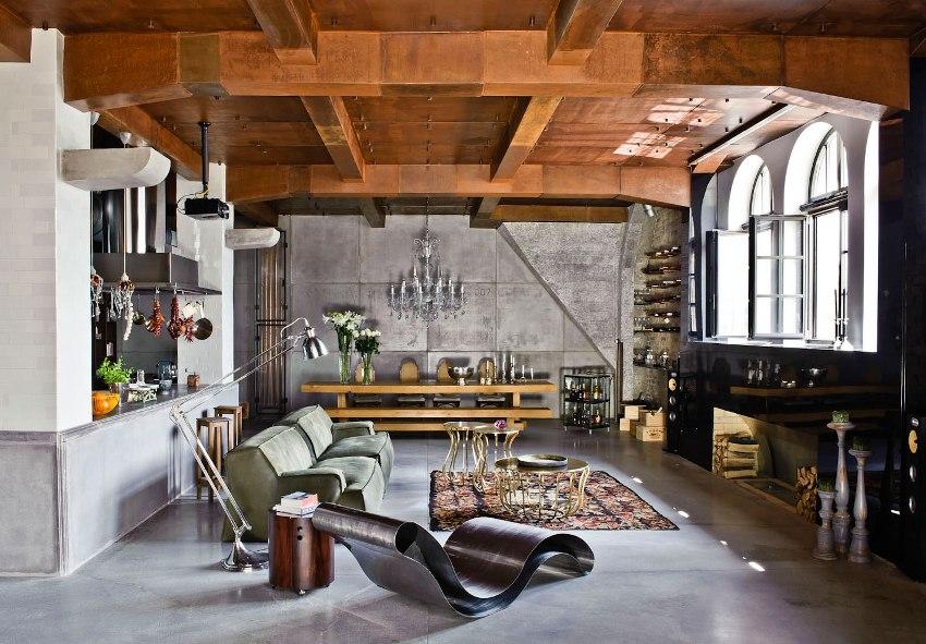 Лофт дизайн в интерьере располагает к приему большого количества гостей, а значит должно быть максимальное количество посадочных мест