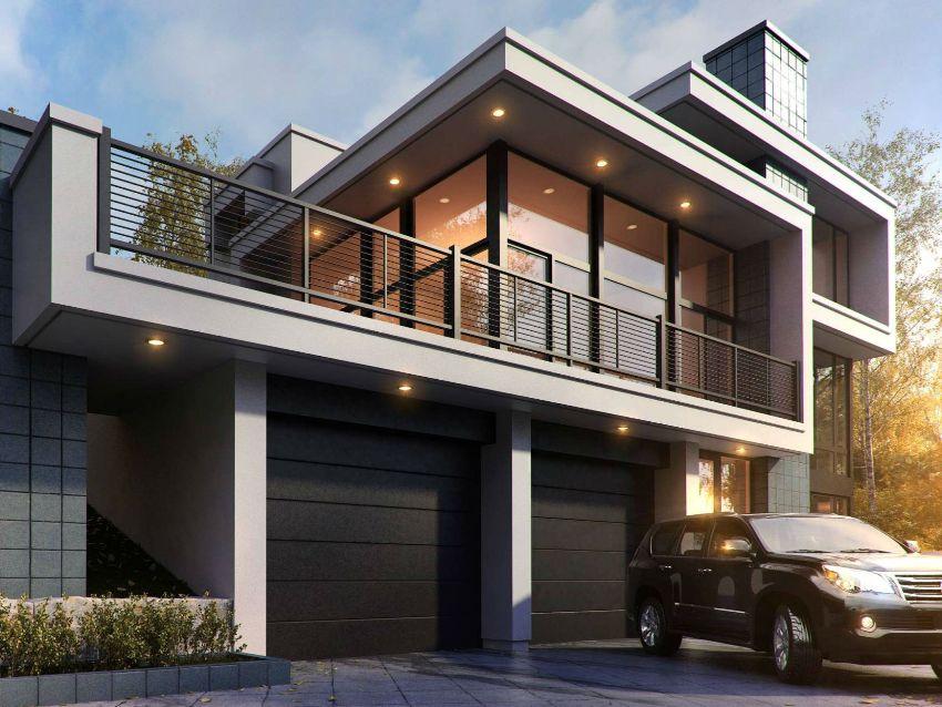 Проекты домов лофт часто содержат балконы, террасы, веранды