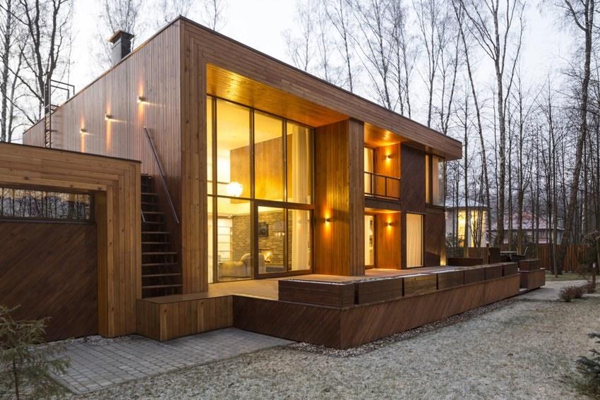 Способствуют созданию стиля лофт в деревянных домах элементы, выполненные из грубых форм обработанного дерева
