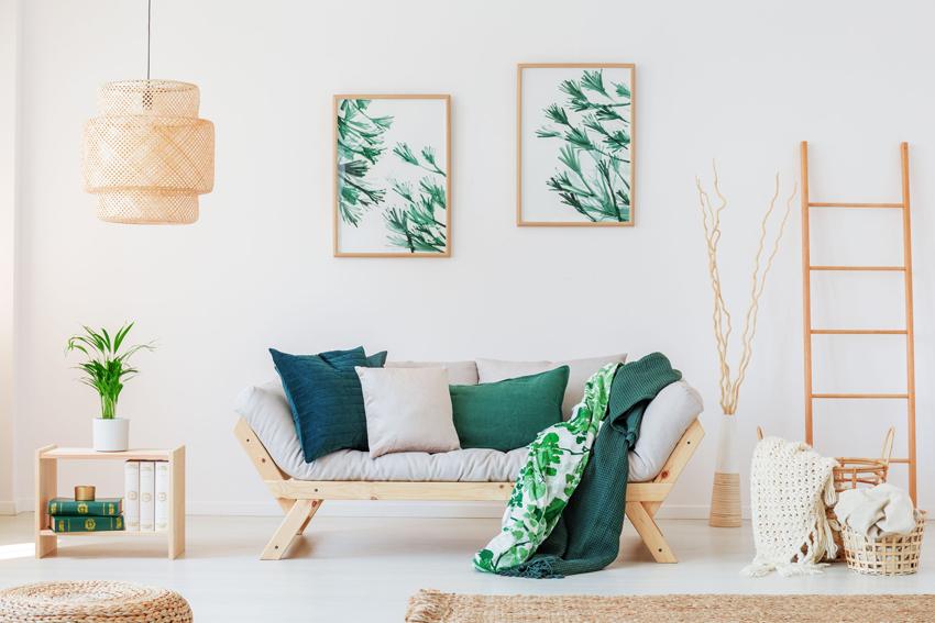 Для интерьера в стиле модерн свойственны флоральные мотивы декоративных элементов