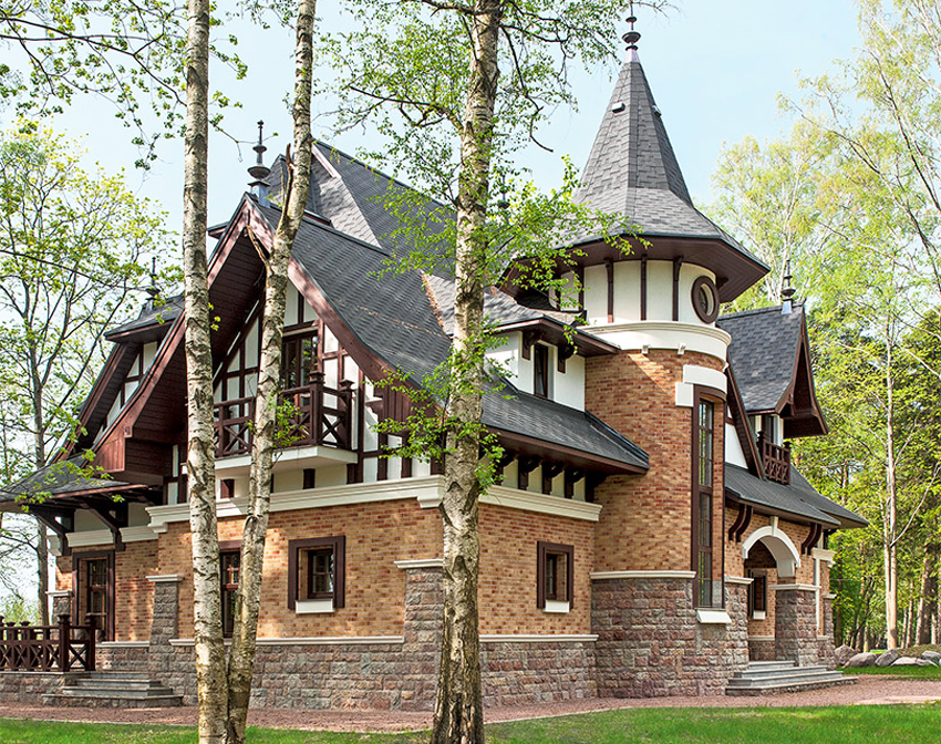 Для северного модерна характерны эркеры, окна многоугольной формы и заостренные крыши