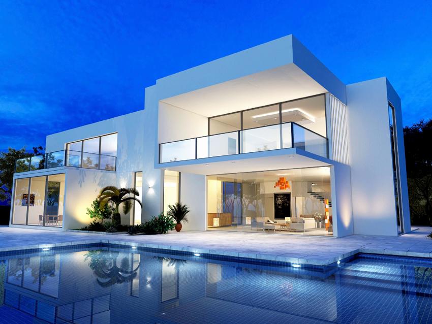 Как правило, дома в стиле модерн имеют террасы