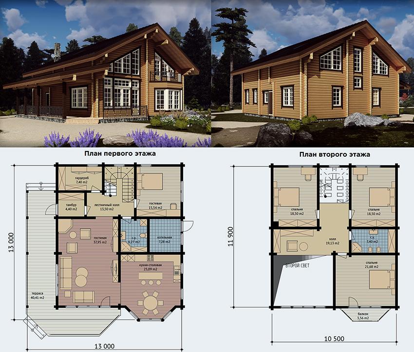 Проект двухэтажного дома из клееного бруса размером 13х13 м