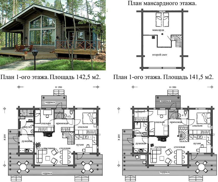 Проект современного дома из бруса с двумя вариантами внутренней планировки