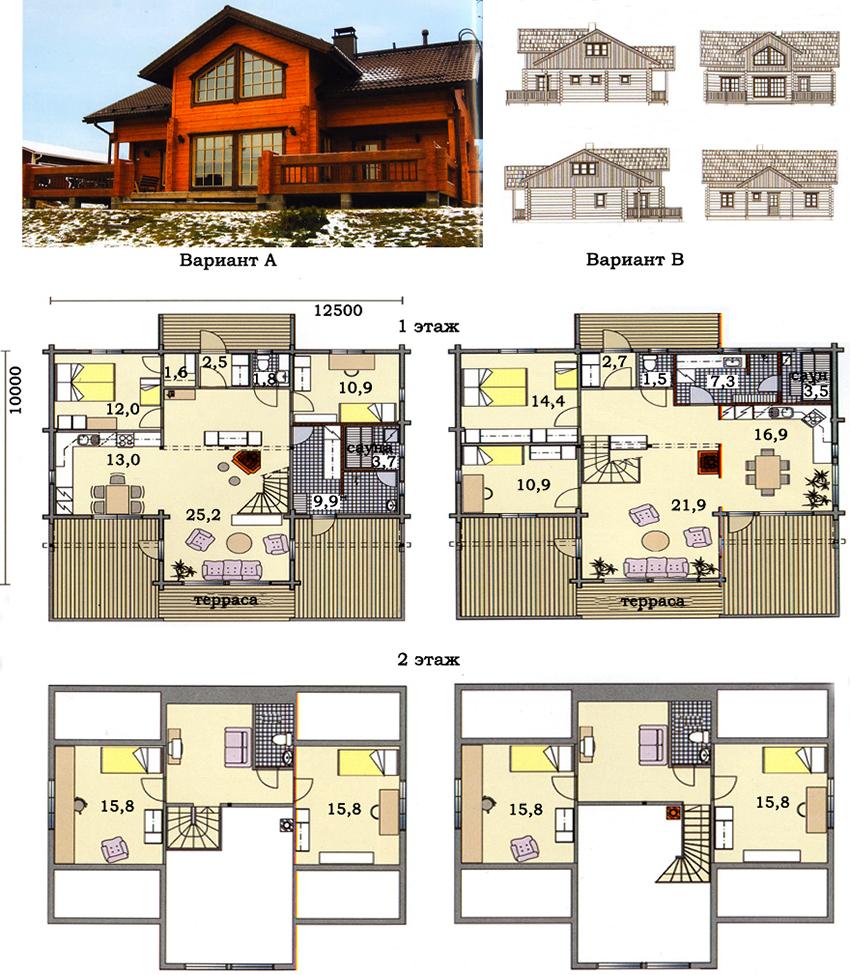 Проект здания из клееного бруса размером 10х12,5 м с двумя вариантами планировки