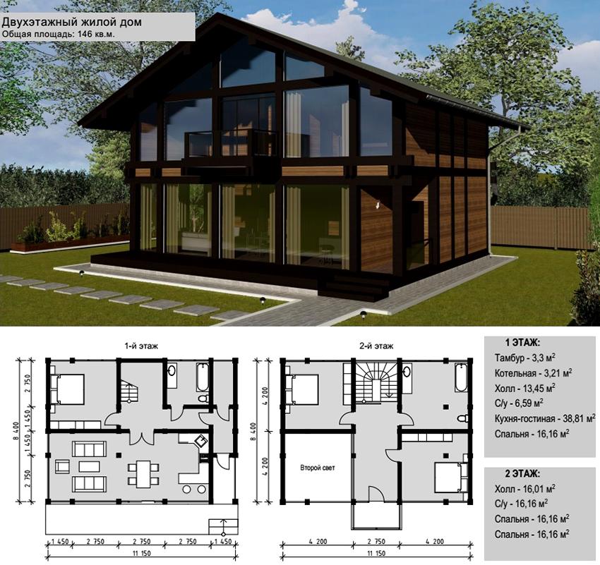 Проект двухэтажного дома в стиле фахверк с панорамными окнами