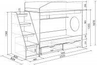 Чертеж двухъярусной кровати со ступенями и выдвижными ящиками