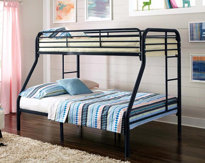 Двухъярусная кровать из металла является наиболее прочной и долговечной