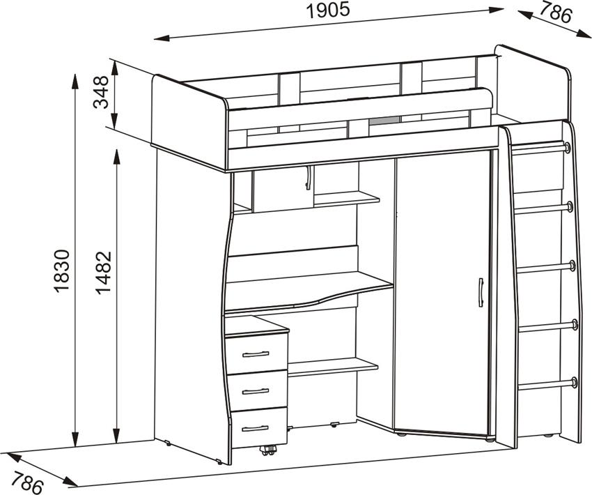 Чертеж изготовления двухъярусной кровати-чердак