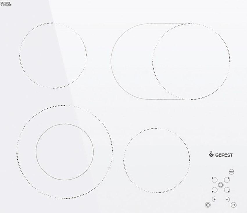 Белая индукционная варочная панель Gefest СН 4232 К12 имеет конфорки разного диаметра, которые на посуду любого размера