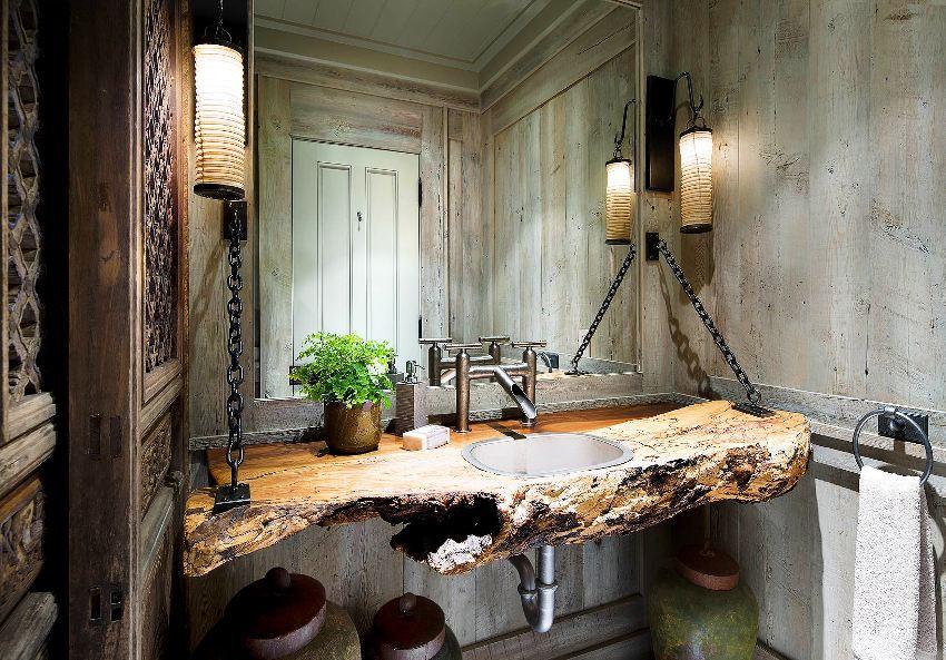 Ванная комната в дизайне лофт имеет право быть не только удобной, но и служить пространством для творчества
