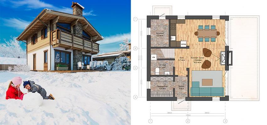 План-проект двухэтажного коттеджа