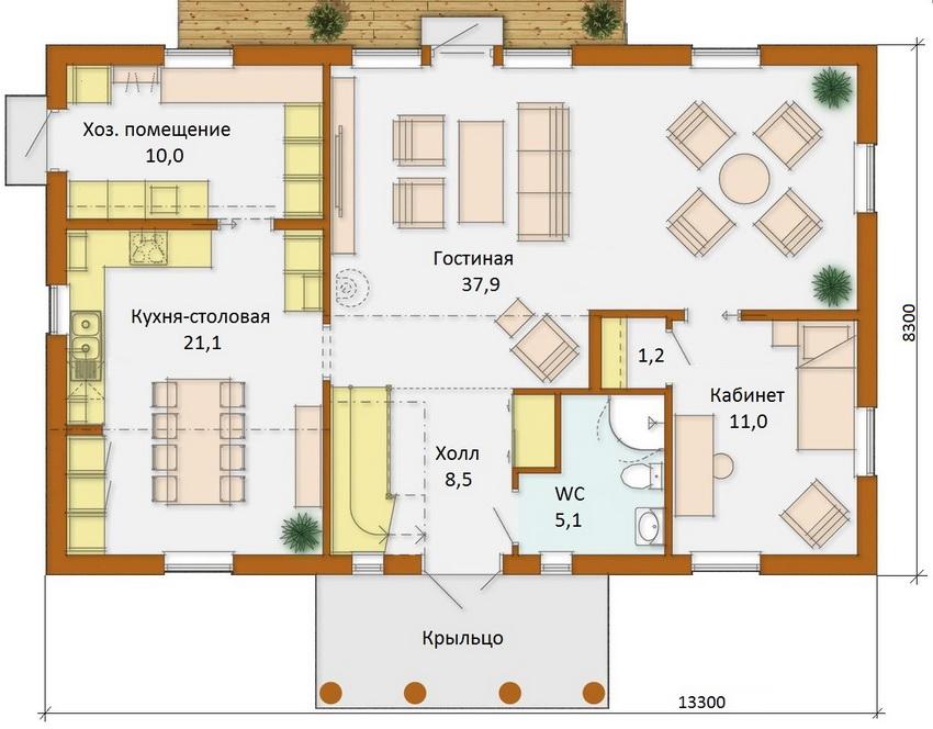 Схема планировки одноэтажного коттеджа