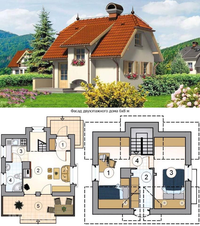 Проект коттеджа. План первого этажа: 1 - тамбур, 2 - гостиная, 3 - кухня, 4 - ванная, 5 - терраса; план второго этажа: 1 - спальня, 2 - гардеробная, 3 - спальня, 4 - лестничный холл