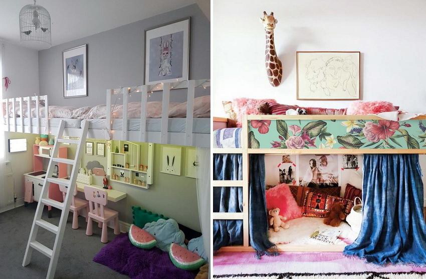 Если в семье один ребенок, а комната маленькая, часто оборудуют спальное место на втором ярусе, отводя нижнее пространство под игровую зону