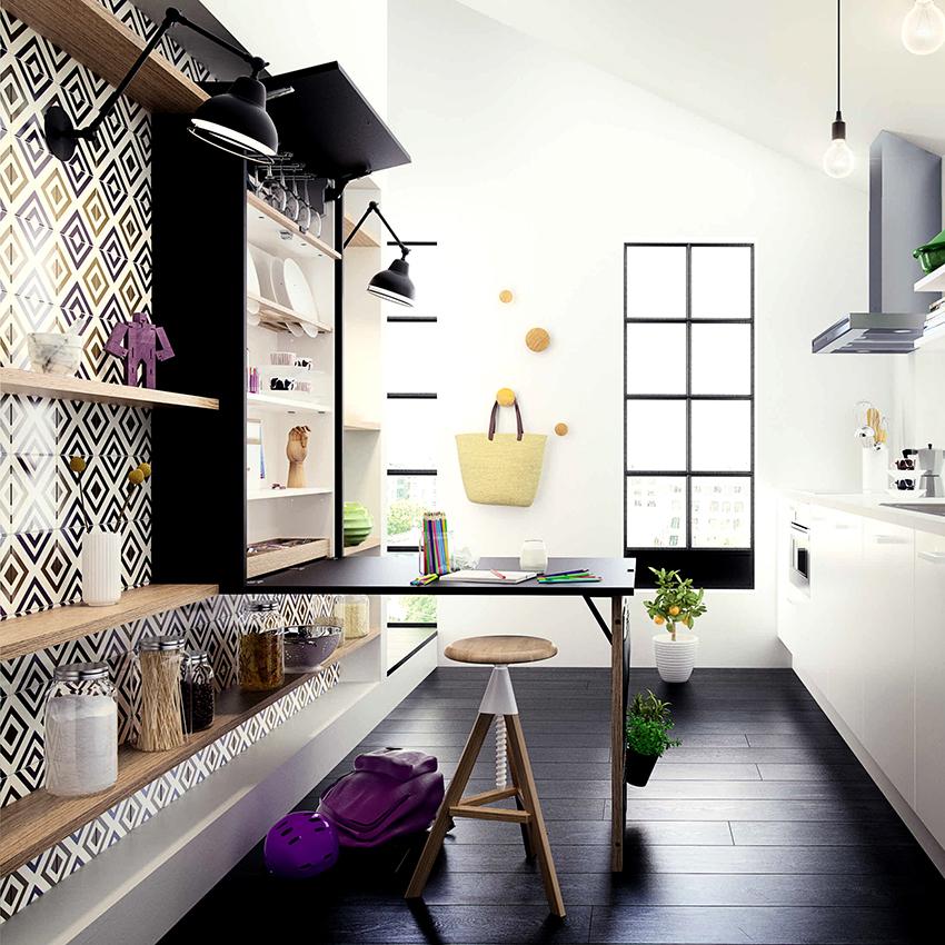 Откидные конструкции – идеальный вариант для небольших кухонь