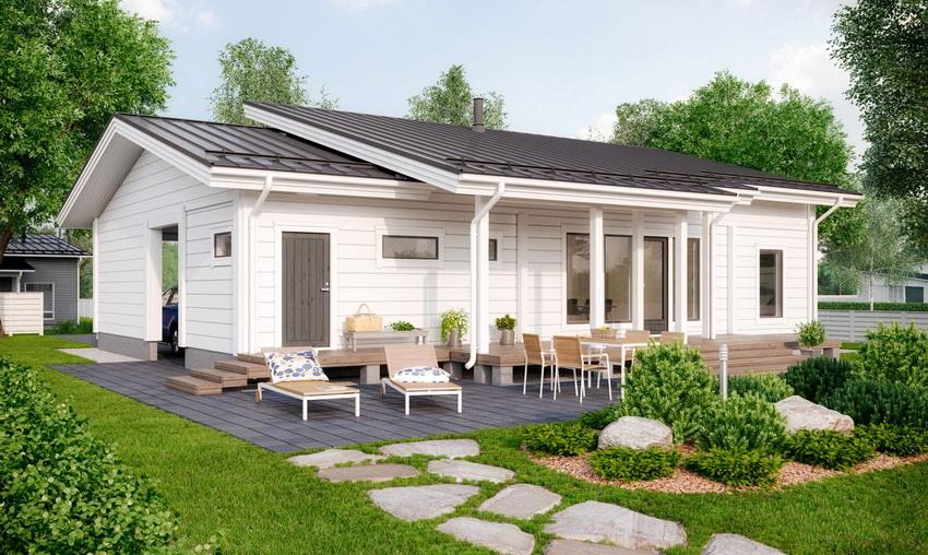 Каркасный одноэтажный дом, обшитый сайдингом имеет невысокую стоимость, поэтому приобретает все большую популярность