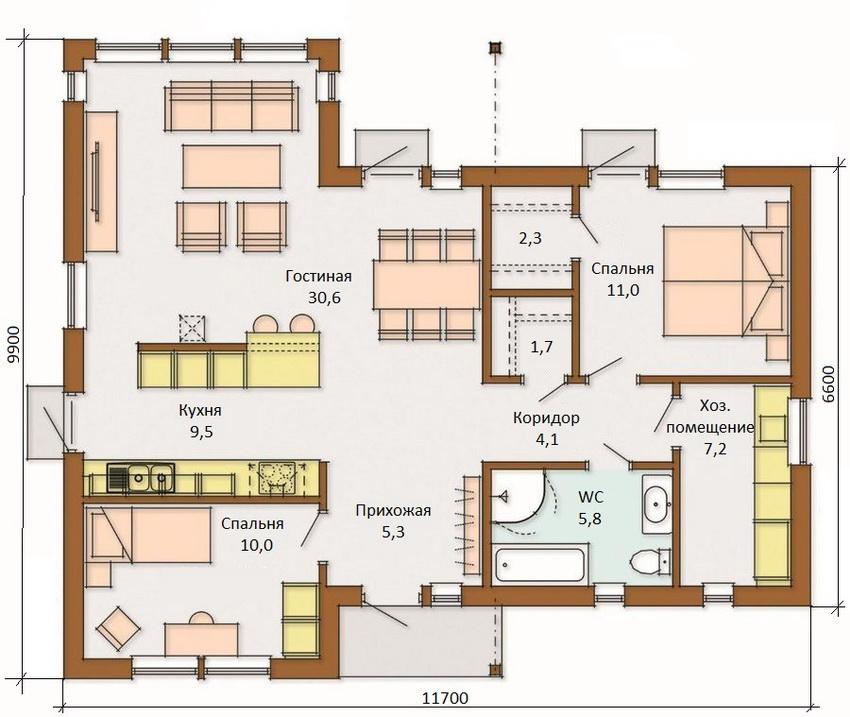 Планировка одноэтажного финского дома