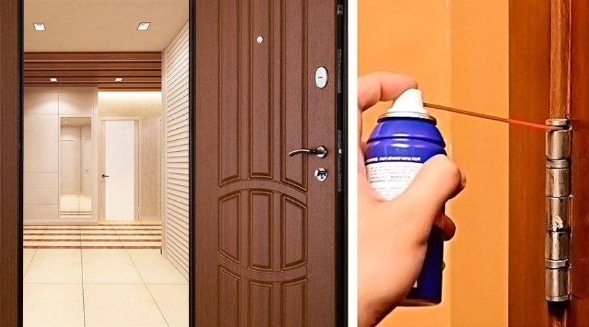 Починить дверь, издающую при открытии и закрытии скрипящие звуки, очень просто смазав ее маслом