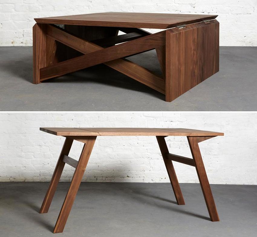 Как правило, столы-трансформеры производят из древесины, металла или стекла