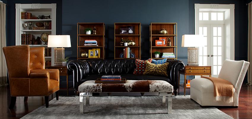 Для помещений в английском стиле используют качественную мебель из натурального дерева