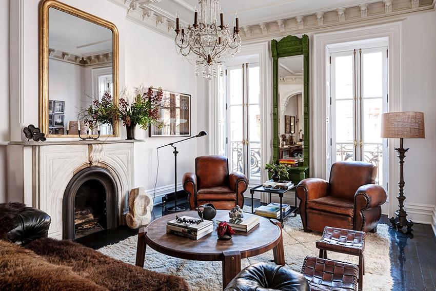 В английских интерьерах использовали натуральные материалы и элегантную мебель