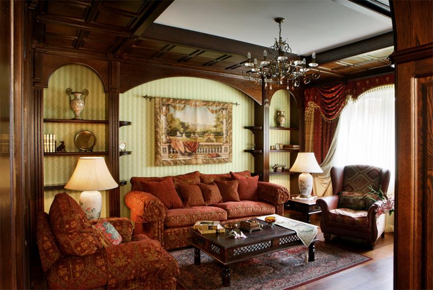 Для отделки помещения в английском стиле используется дерево и текстиль