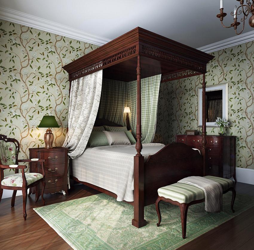 Главным украшением спальни в английском стиле является шикарная деревянная кровать