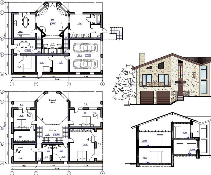 Пример проекта двухэтажного дома с гаражом на две машины