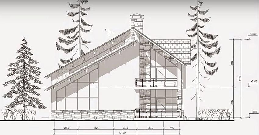 Пример чертежа одноэтажного дома из кирпича с мансардным этажом