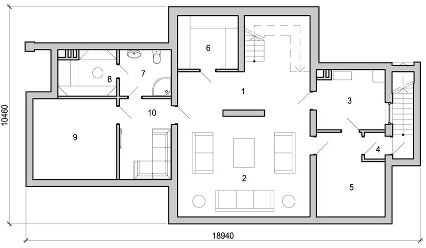 План подвального этажа, где 1 – холл, 2 – комната отдыха, 3 – топочно-постирочная, 4 – тамбур, 5 – кладовая, 6 – кладовая, 7 – санузел, 8 – сауна, 9 – спортзал, 10 – терраса