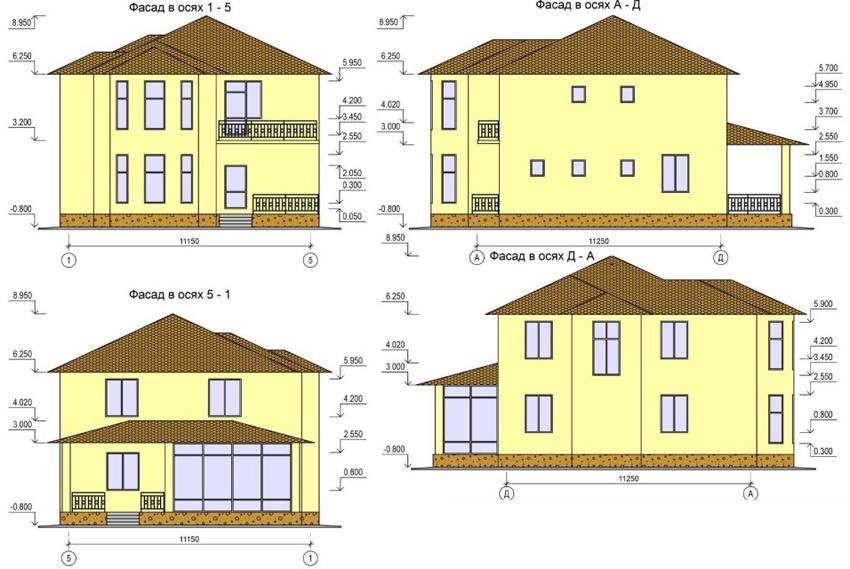 Чертежи с изображением фасада двухэтажного дома с разных сторон