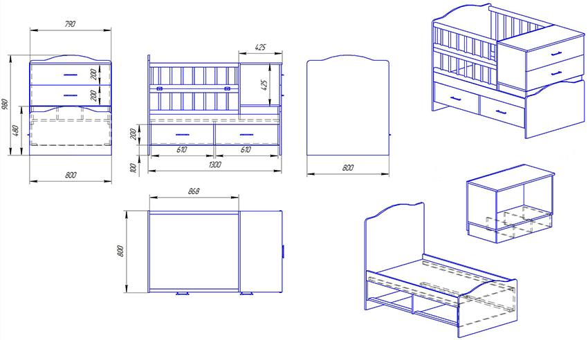 Чертеж кроватки для новорожденного с дополнительными ящиками