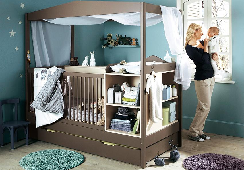 Модульная кровать состоит из отдельных элементов и может трансформироваться в более просторное спальное место