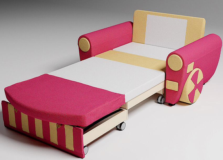 У кресла-кровати с конструкцией «дельфин» место для сна спрятано под сиденьем