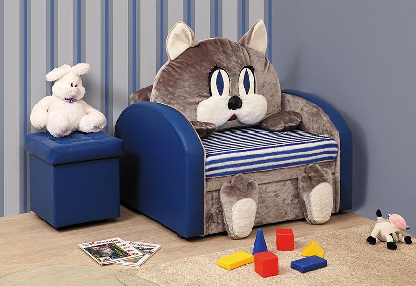 Детское кресло-кровать может быть сделано в виде животного или транспортного средства