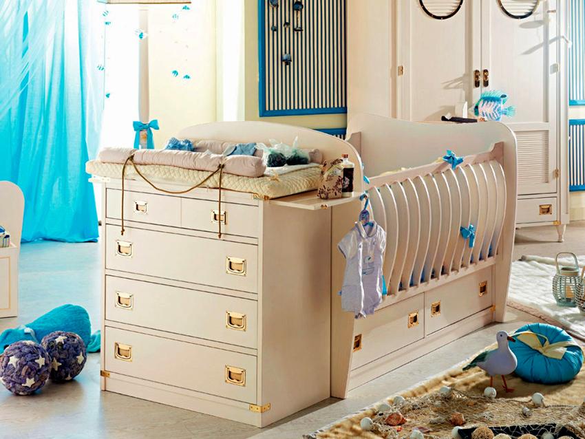 Модульная кровать-трансформер со спальным местом, комодом и ящиками