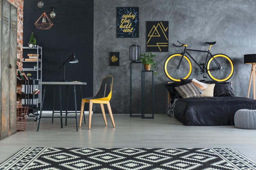 Интересный пример дизайна спальни в стиле лофт