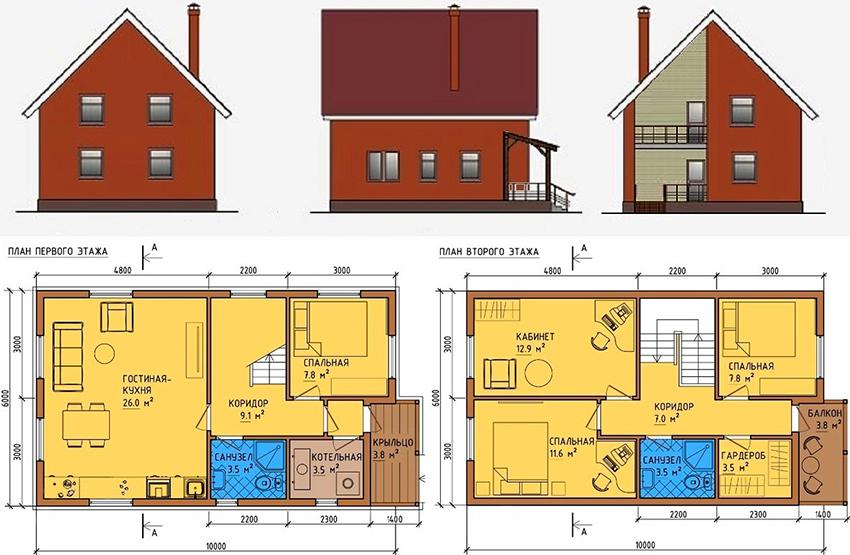 Проект каркасного дома с двумя этажами в скандинавском стиле