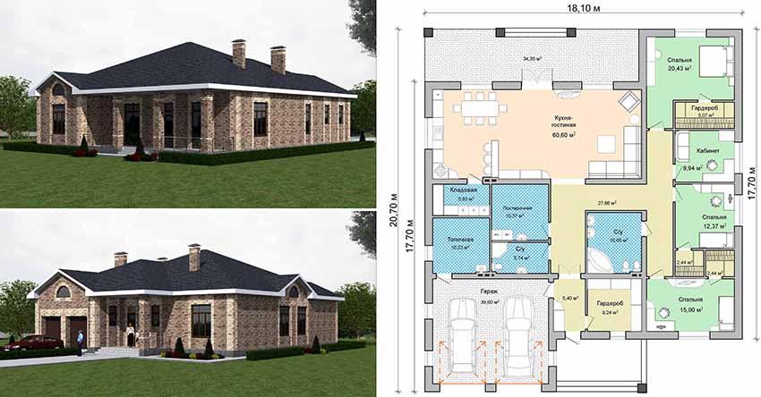 Проект одноэтажного дома с гаражом на 2 машины в скандинавском стиле